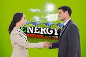 pic of solar battery  - Future partners shaking hands against solar panels in a sunny field in an energy saving battery - JPG