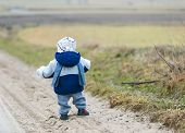 stock photo of children walking  - Toddler child photographed from behind walking outside - JPG