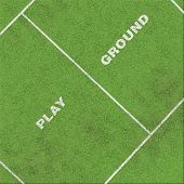 foto of grass area  - playground text on grass with area of field - JPG