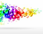 foto of groping  - abstract vector illustration with rainbow 3d letters - JPG