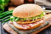 image of scallion  - Burger with potato pancake - JPG