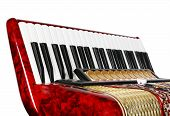 pic of outdated  - musical instrument red accordion keyboards fragment outdated device - JPG