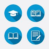 picture of education  - Pencil with document and open book icons - JPG