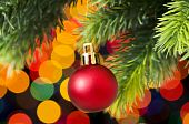picture of close-up  - Christmas decoration and blurred lights at background - JPG