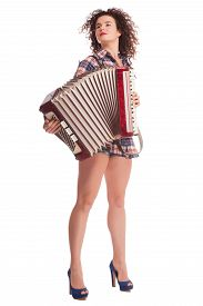 picture of accordion  - Pretty young sexy woman with accordion - JPG