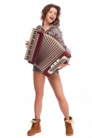 foto of accordion  - Pretty young sexy woman with accordion - JPG