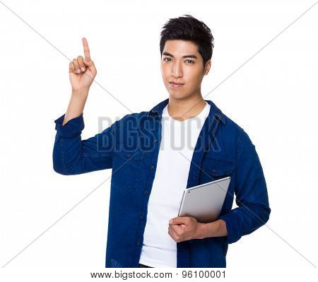 Chinese mixed iranian man hold with tablet and finger point up