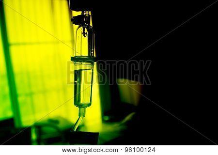 Drop of Saline Solution in Hospital Room