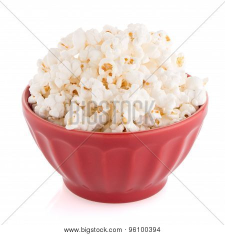 Popcorn In A Red Bowl