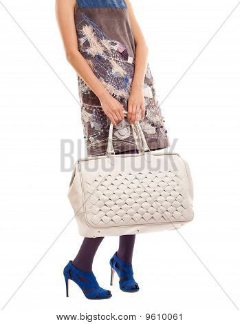 Woman Hoding Big  Purse