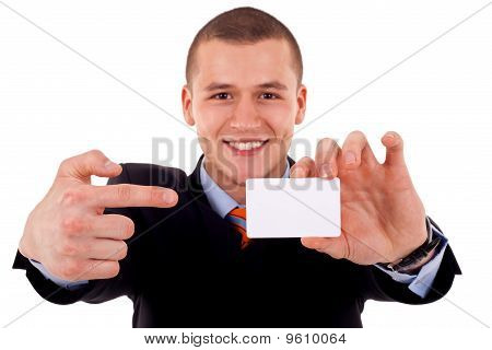 Man Shows His Business Card