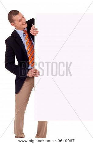 Business Man Holding Blank Poster