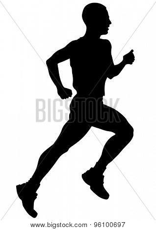 Athletes running on a white background