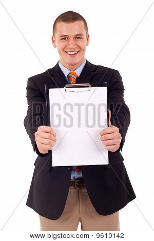 Man Holding A Blank Clipboard