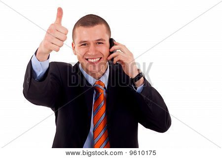 Man Showing Thumb Up On Phone