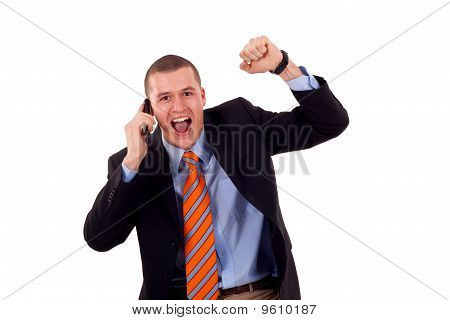 Man With Cellular Phone Winning