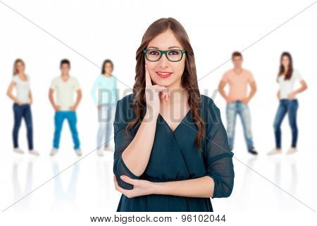 Pensive woman with glasses with people unfocused background