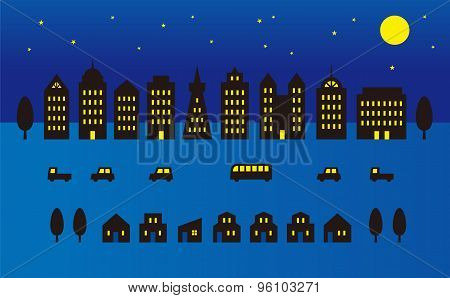 Night Time City Illustration