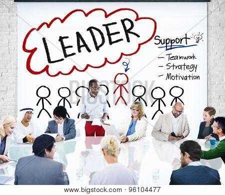 Leader Support Teamwork Strategy Motivation Concept
