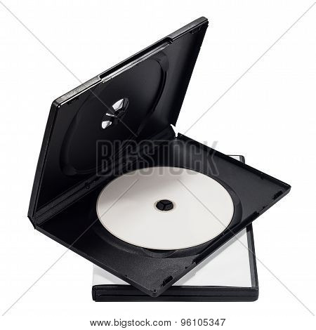 The open black DVD case with disk inside isolated on white background,clipping path