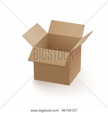 Empty cardboard box opened isolated
