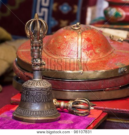 Tibetan Buddhist Still Life - Vajra And Bell. Likir Gompa, Ladakh, India.