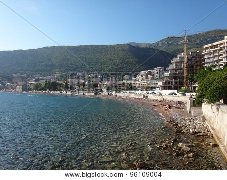 Big beach and mountan in sunny summer day