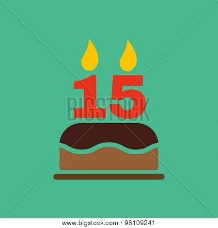 The birthday cake with candles in the form of number 15 icon. Birthday symbol. Flat