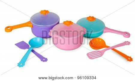 Set Of Pans With Kitchen Utensils
