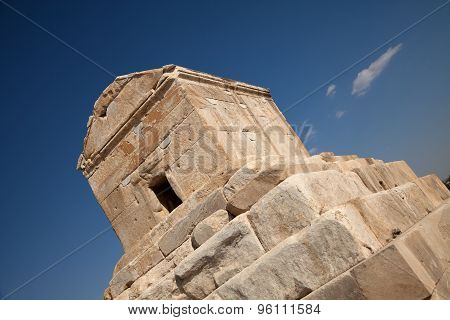 Tomb Of Cyrus In Pasargad Against Blue Sky