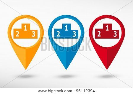 Sport podium map pointer, vector illustration. Flat design style