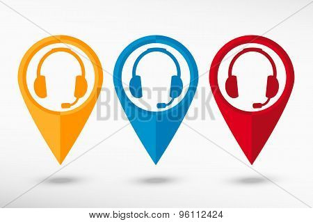Headset contact. Live help map pointer, vector illustration. Flat design style