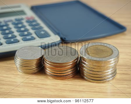 Count, Pile Of Coins, Money And Calculator On Wood Background