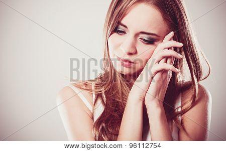 Young Sad Stressed Woman Closeup