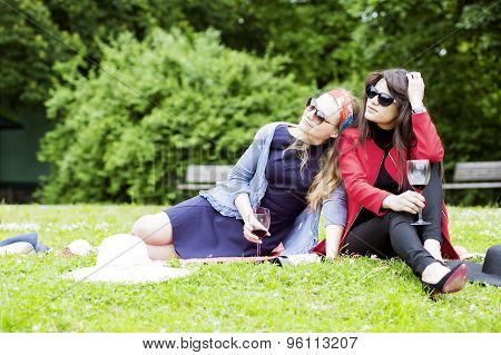 Tender And Young Women Enjoying The Day