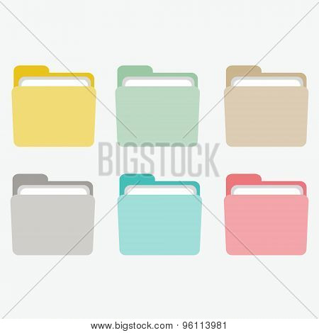 Colorful bright folder icons set.