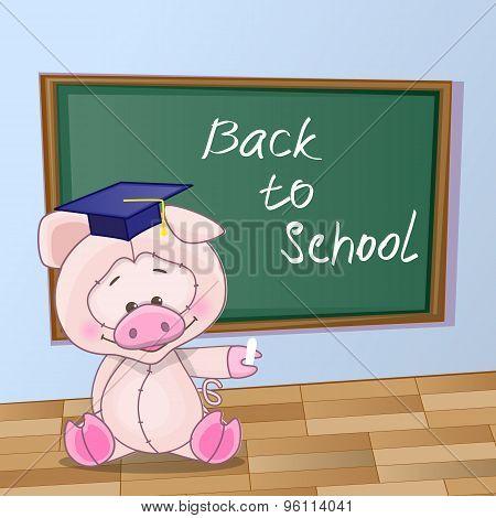 Cartoon Pig Wrote In Classroom