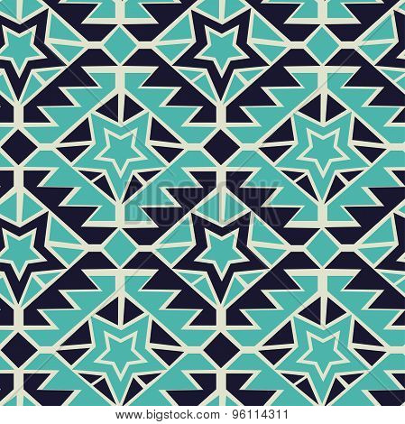 Tribal Turquoise And Navy Geometric Tribal Seamless Pattern