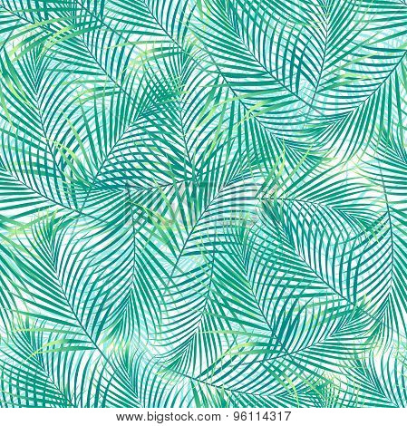 Tropical Palm Leaves In A Seamless Pattern On A White Background