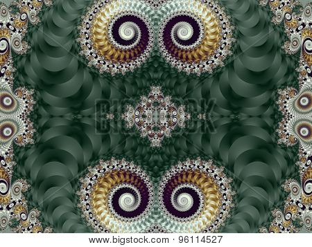 Beautiful Background With Spiral Pattern. Green And Gray Palette. Artwork For Creative Design, Art A