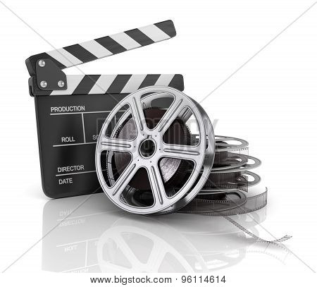 Cinema Clap And Film Reel, Over White Background.