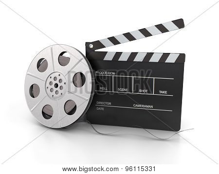 Clapperboard And Film Reel Isolated On White Background. 3D Rendered Image