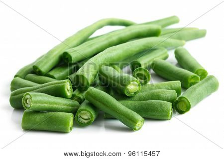Whole French Green String Beans Cut And Isolated On White.