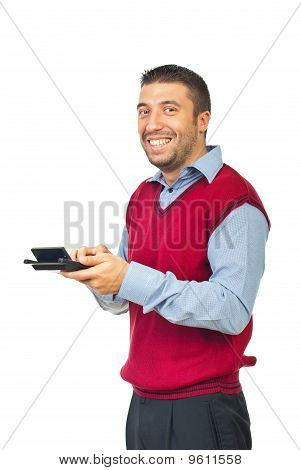 Laughing Man Holding Calculator