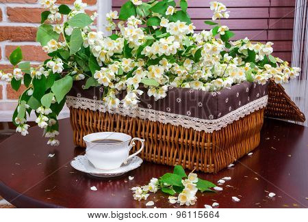 Coffee And Jasmine Flowers. Interior. Fragment