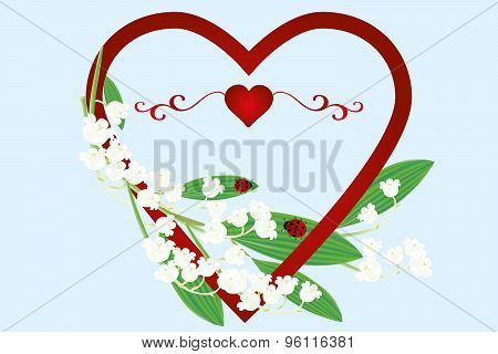 Beautiful Card With Heart, Lilies Of The Valley Flowers And Ladybugs