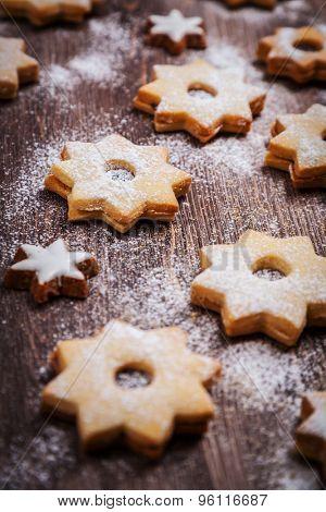Homemade Christmas cookies in star shape