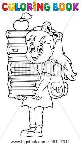 Coloring book with girl holding books - eps10 vector illustration.