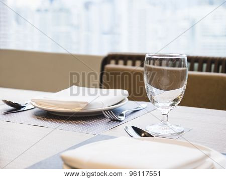 Table Dinner Set With Glass Napkin Restuarant Background