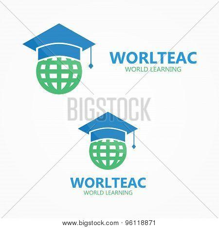 Vector logo combination of a graduation cap and earth